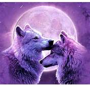 Wolves In The Purple Moon Fantasy Creatures HD Wallpaper