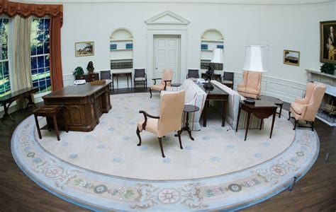 oval office decor through the years official praises oval office makeover blames obama for wallpaper stains vanity fair
