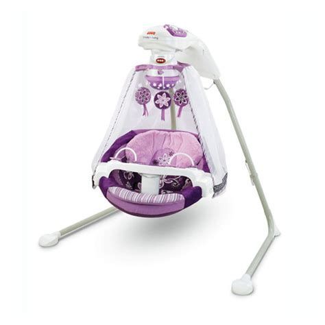 purple infant swing object moved