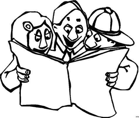 wandlen zum lesen drei kinder lesen im buch ausmalbild malvorlage comics