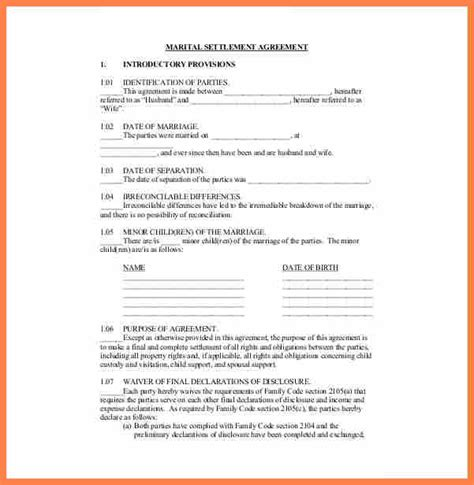 7 separation and property settlement agreement purchase