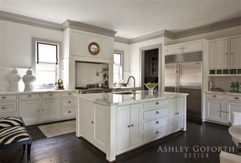 White Kitchen Cabinets With Crown Molding Gray Crown Molding Transitional Kitchen Goforth Design