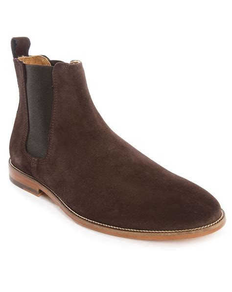 chelsea suede boots mens bobbies l horloger suede chelsea boots in brown for lyst