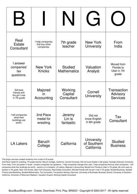 Baruch Mba Grading System by Custom Bingo Cards To Print And Customize