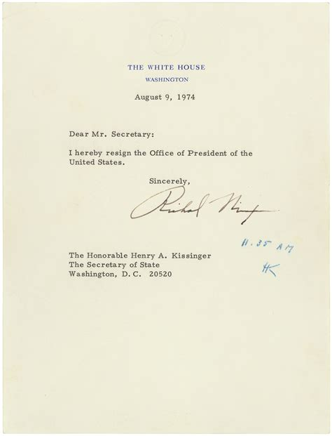 Richard Nixon Resignation Letter by East Rotunda Gallery Featured Documents