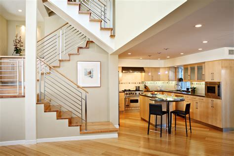 modern center island designs for kitchens railing stairs indoor stair railing kitchen contemporary with light wood