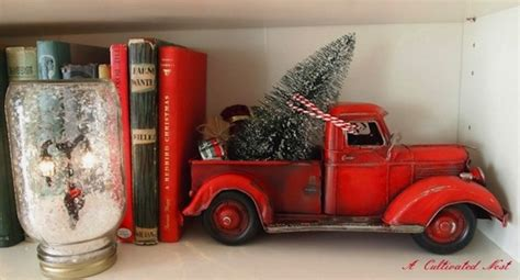 red christmas vintage pick ups for sale trees and cars miniature cars and trees kid friendly decor