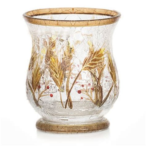 yankee candle wheat crackle hurricane vase
