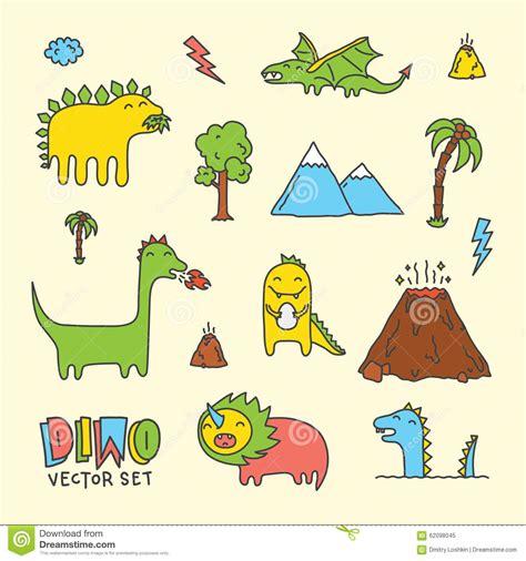 dino doodle dino vector set stock vector image 62098045