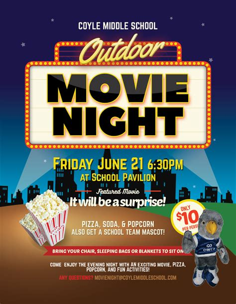 A K 12 Mascots Outdoor Movie Night Outdoor Flyer Template