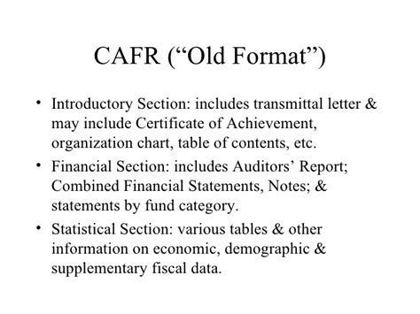 statistical section of cafr module 1 basics of governmental