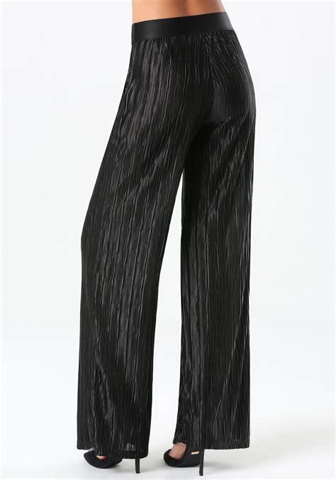 pleated wide leg bebe pleated wide leg in black lyst