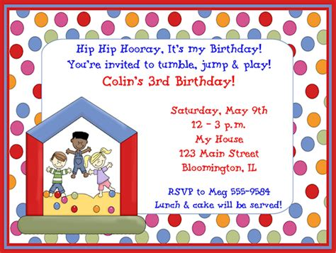 kids bounce house birthday party invitations