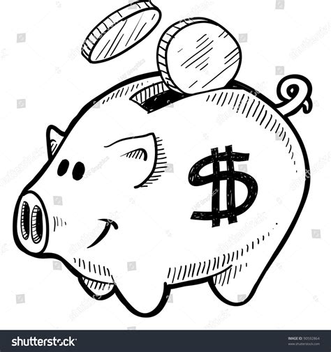 sign in for doodle doodle style piggy bank dollar sign stock vector 90592864