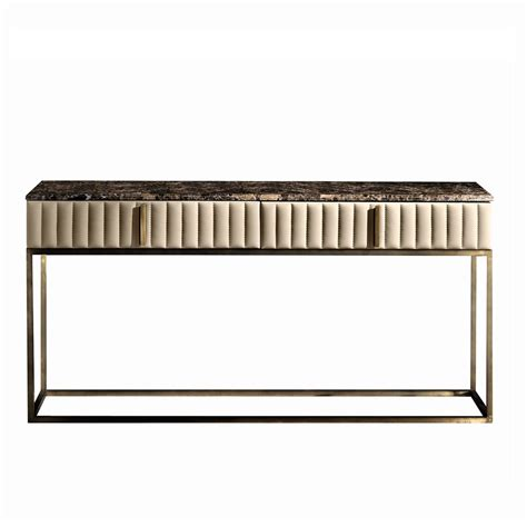 Leather Console Table Touched D Burnished Brass Leather Marble Top Console Table With Drawers