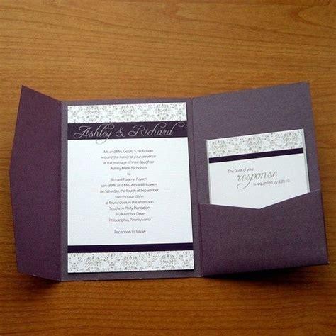 eggplant pocket wedding invitations free sle wedding invitations matik for