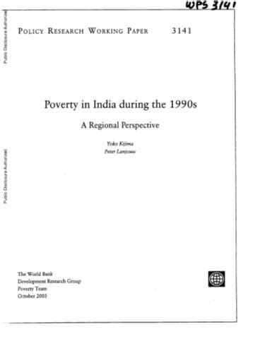 Pdf Of The 1990s by Poverty In India During The 1990s A Regional Perspective