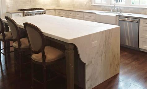 Marble Top Kitchen Island by Waterfall Edge Countertops Surface One