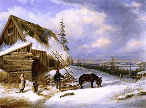Lake Charles Cabins by Cornelius Krieghoff Log Cabin Winter Lake St