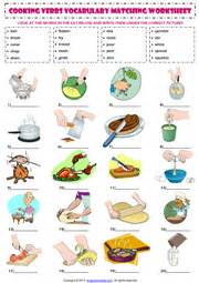 cooking verbs esl printable worksheets and exercises