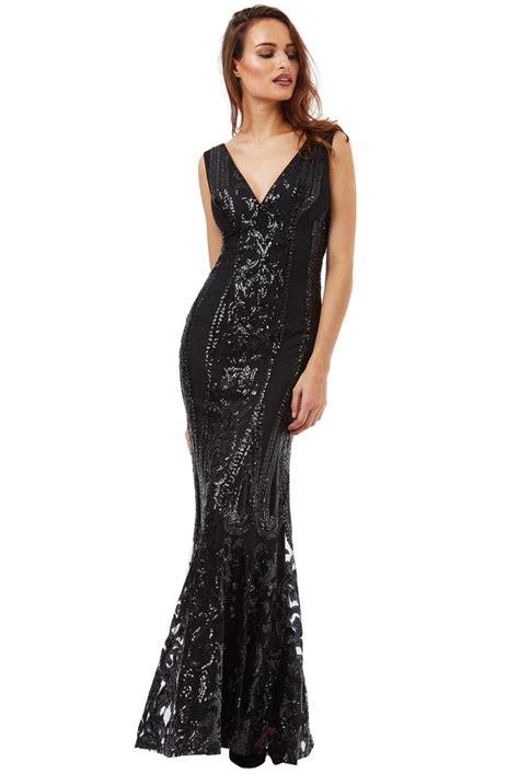 goddiva v neck sequin fishtail maxi dress tiqqette collection