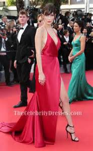 bella hadid red evening dress cannes 2016 red carpet