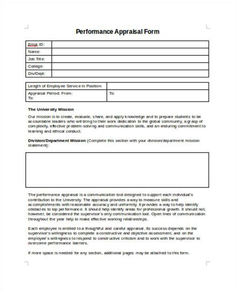 performance appraisal form template employee contemporary