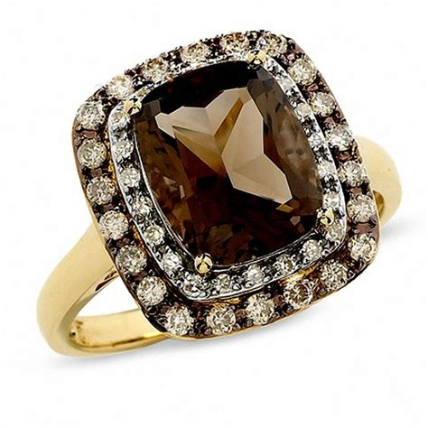 cushion cut smoky quartz ring in 14k gold with enhanced