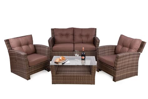 Outside Edge Garden Furniture Blog: Rattan 4 seater sofa set for outdoor with reclining lounge