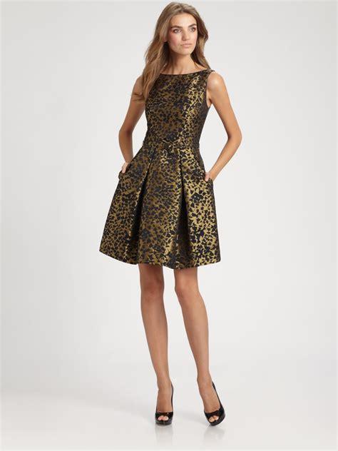 Lomgdress Brocade theia brocade dress in metallic lyst