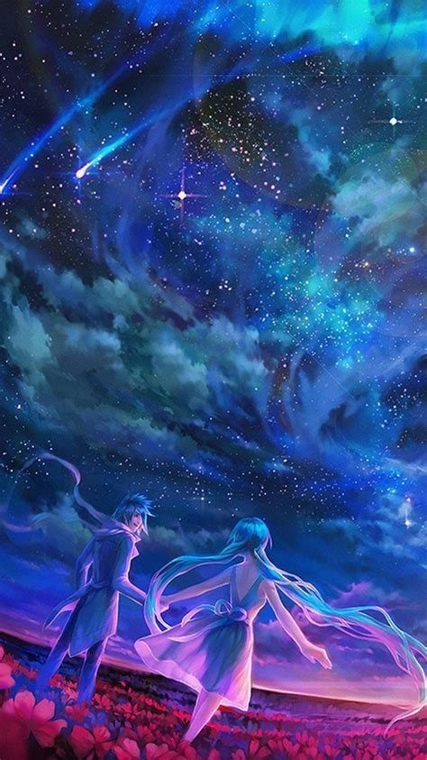 anime sky shooting stars universe iphone wallpaper
