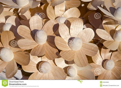 Handmade Wooden Flowers - wooden handmade craft flowers in market stock photo