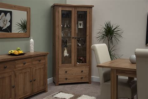 Living Room Display Furniture Tilson Solid Rustic Oak Living Room Furniture Glass Display Cabinet Unit Ebay