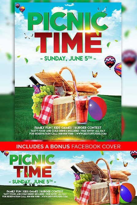 Download Free Picnic Time Free Poster And Flyer Template For Photoshop Summer Picnic Flyer Template