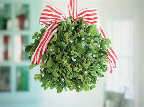 how to make a mistletoe kissing ball southern living