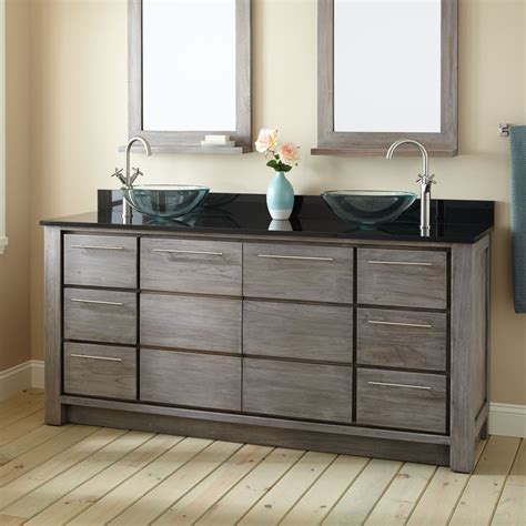 double sink bathroom cabinets 72 quot venica teak double vessel sinks vanity gray wash