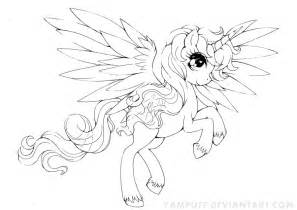 alicorn commission lineart by yuff on deviantart - Alicorn Coloring Pages