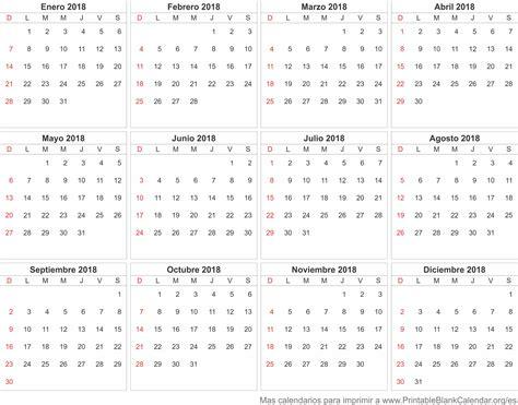 calendario 2018 calendarios para imprimir