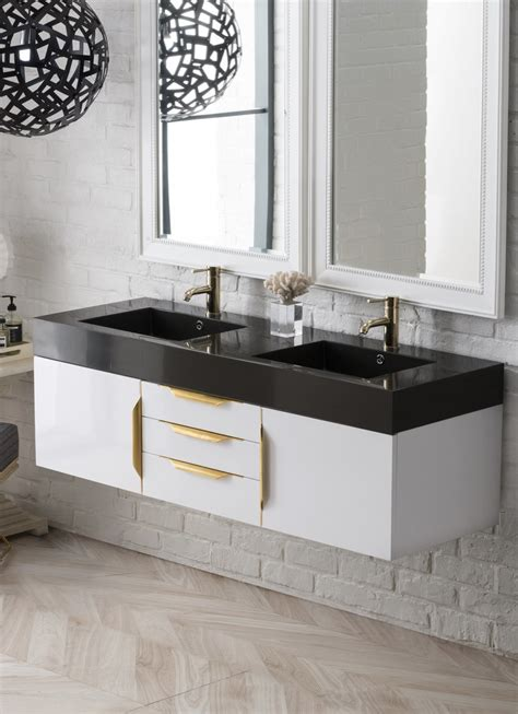 mercer island  double bathroom vanity glossy white