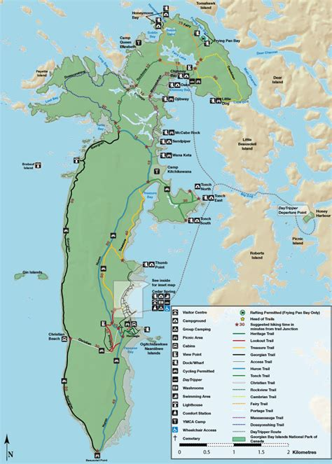 canada national park map parks canada georgian bay islands national park map of