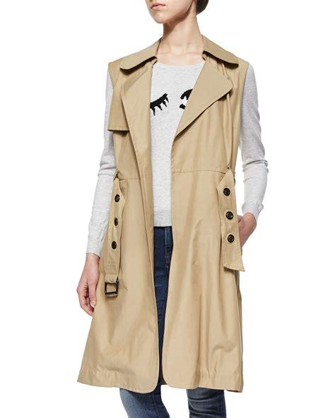 sleeveless trench coat milly sleeveless belted