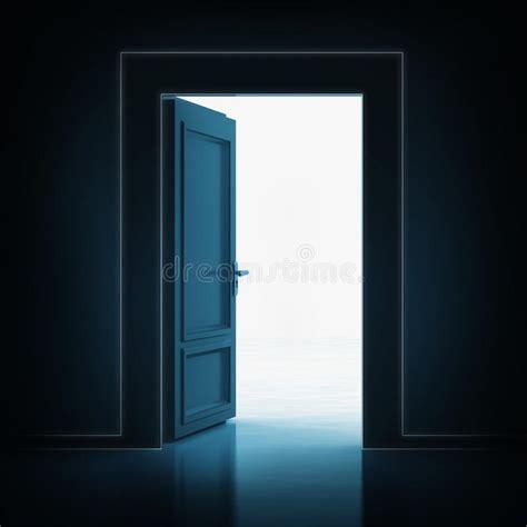 open single door in darkness to light room 3d stock