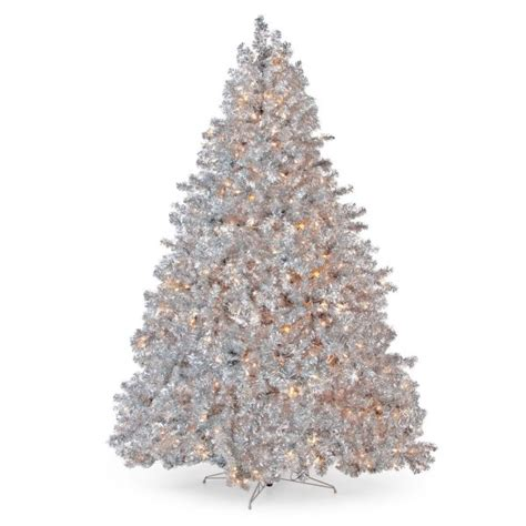 new vickerman 9 silver tinsel pre lit christmas tree