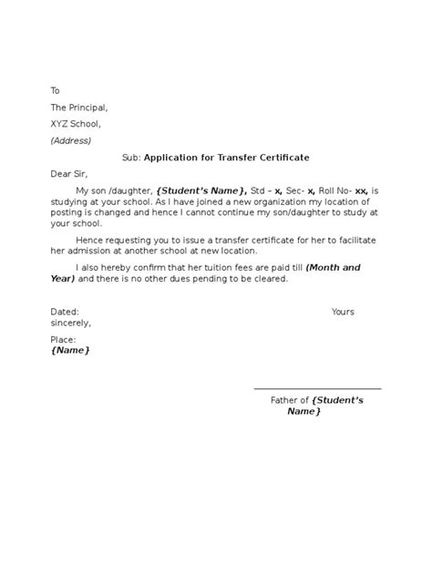 Transfer Request Letter Due To Parent S Illness In sle application letter school transfer certificate