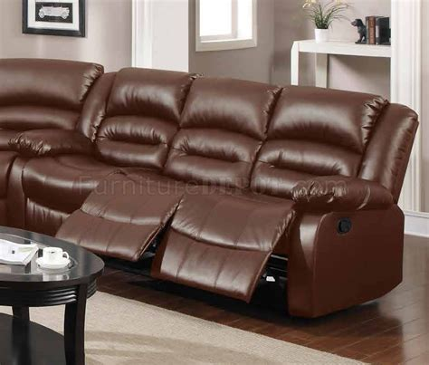 brown leather reclining sectional 9242 reclining sectional sofa in brown bonded leather w