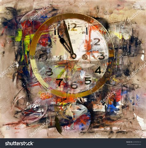 Time Acrylic Painting On Paper Stock Illustration