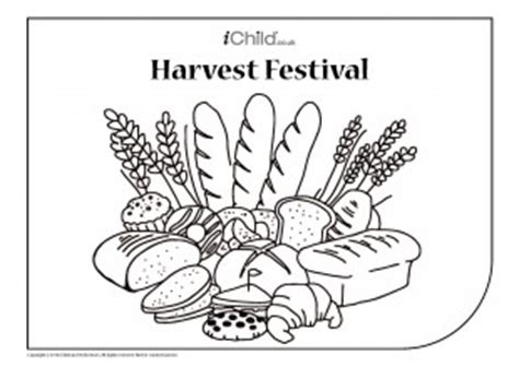 harvest festival colouring in picture bread basket ichild
