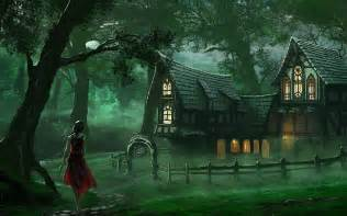 fantasy houses spooky house fantasy forest wallpaper hd download