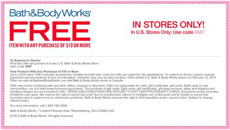 bed bath and body works coupon in store bath and body works coupons free printable coupons online