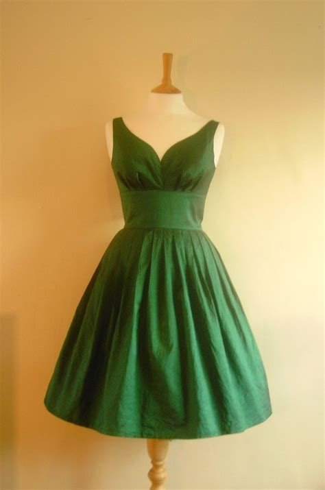 green dress emerald green taffeta prom dress made by dig for victory
